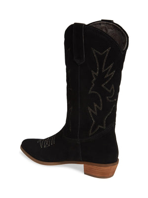Cimarron Black Suede Western Boot Back