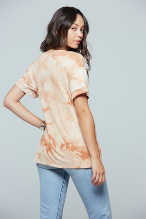 Clay Tie Dye V-Neck Tee Back
