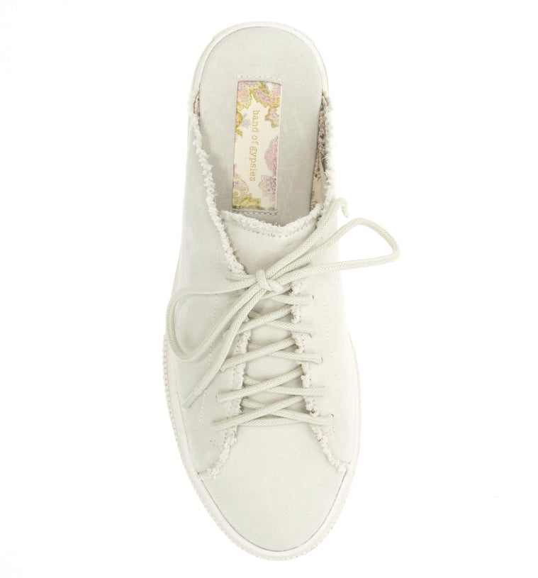 Coast Vegan Ecru Brushed Satin Sneaker Mule Top
