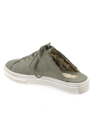 Coast Vegan Gray Brushed Satin Sneaker Mule Back