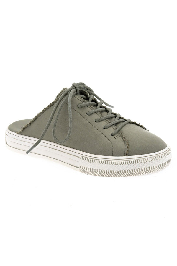 Coast Vegan Gray Brushed Satin Sneaker Mule Master