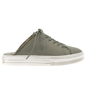 Coast Vegan Gray Brushed Satin Sneaker Mule Side