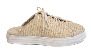 Coast Vegan Sand Woven Fabric Sneaker Mule Side