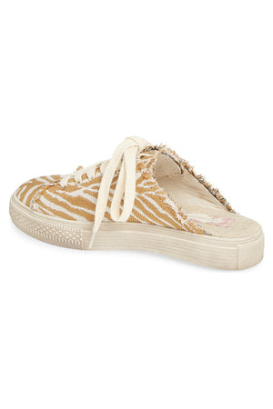 Coast Vegan Natural Zebra Woven Canvas Sneaker Mule Back