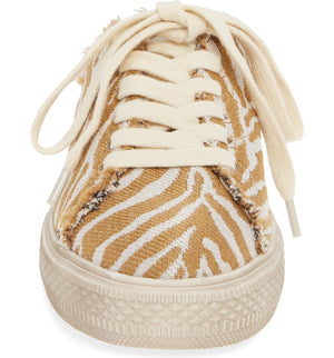 Coast Vegan Natural Zebra Woven Canvas Sneaker Mule Front