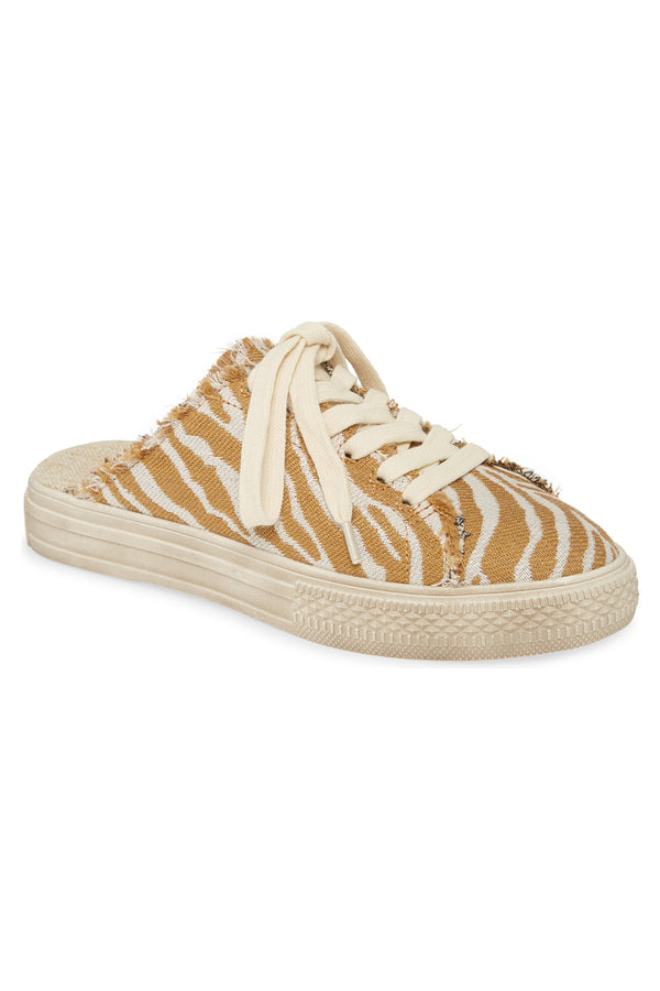 Coast Vegan Natural Zebra Woven Canvas Sneaker Mule Master
