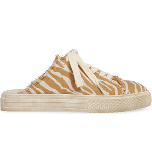 Coast Vegan Natural Zebra Woven Canvas Sneaker Mule Side