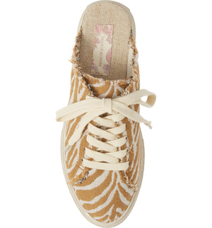 Coast Vegan Natural Zebra Woven Canvas Sneaker Mule Top