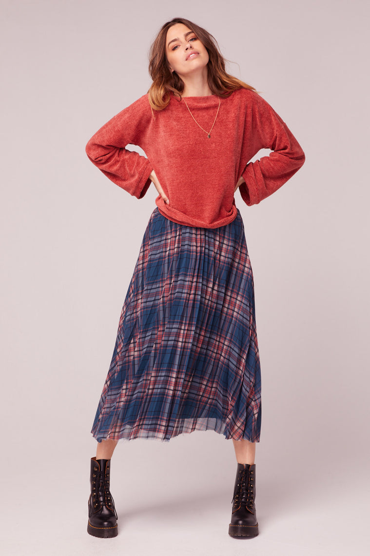 Come As You Are Plaid Pleated Midi Skirt Master2