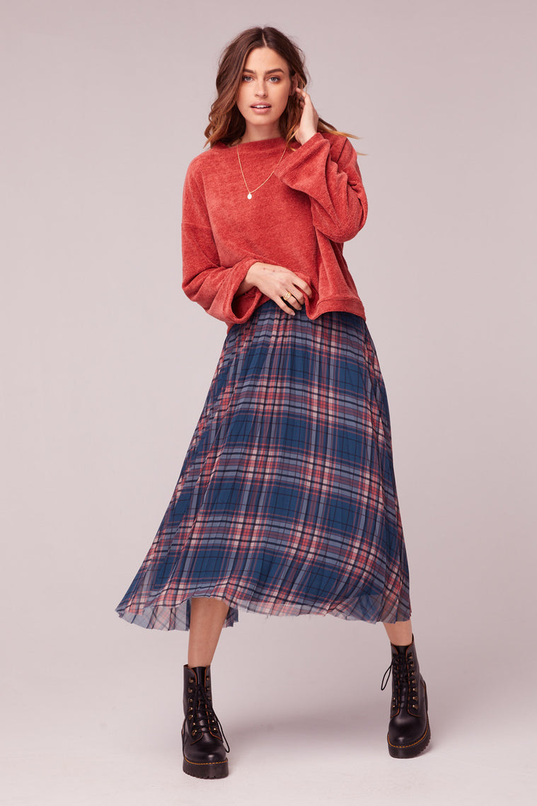 Come As You Are Plaid Pleated Midi Skirt Master
