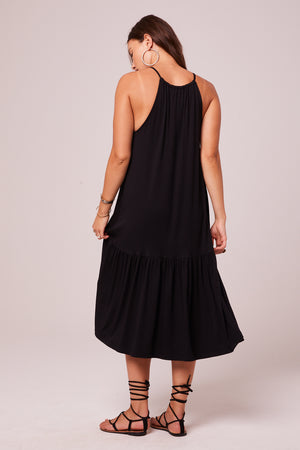 Corita Black Halter Midi Dress Back