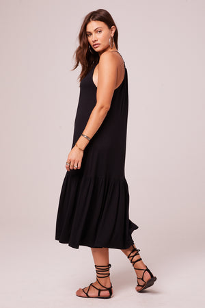 Corita Black Halter Midi Dress Side