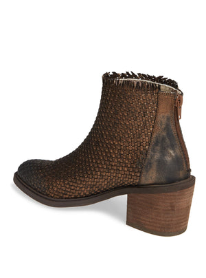 Cortez Bronze Metallic Woven Booties Back
