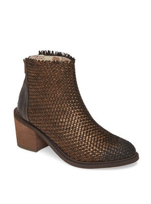 Cortez Bronze Metallic Woven Booties