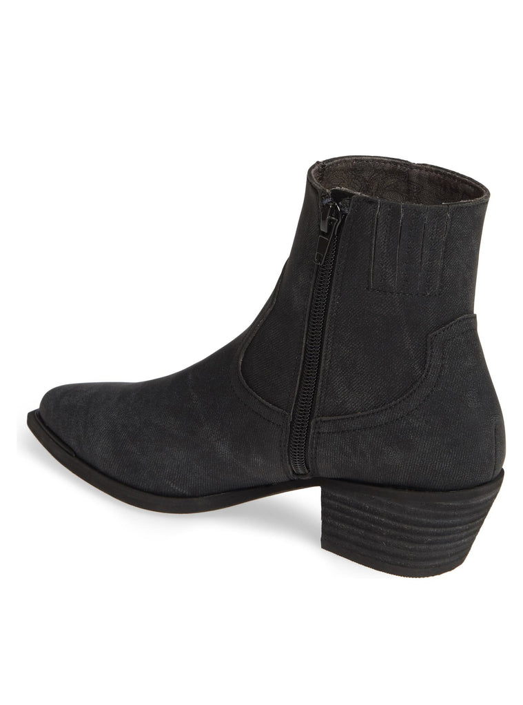 Creed Charcoal Stamped Denim Booties Back