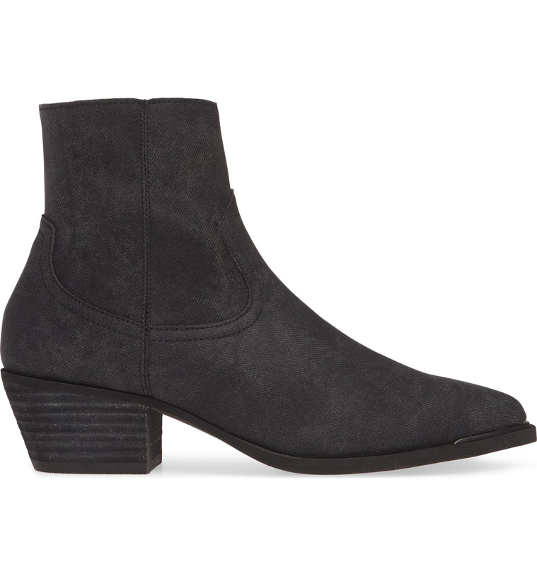 Creed Charcoal Stamped Denim Booties Side