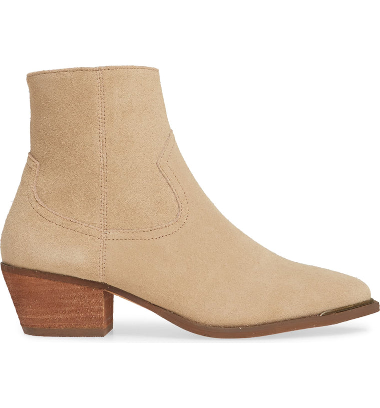 Creed Natural Suede Booties Side