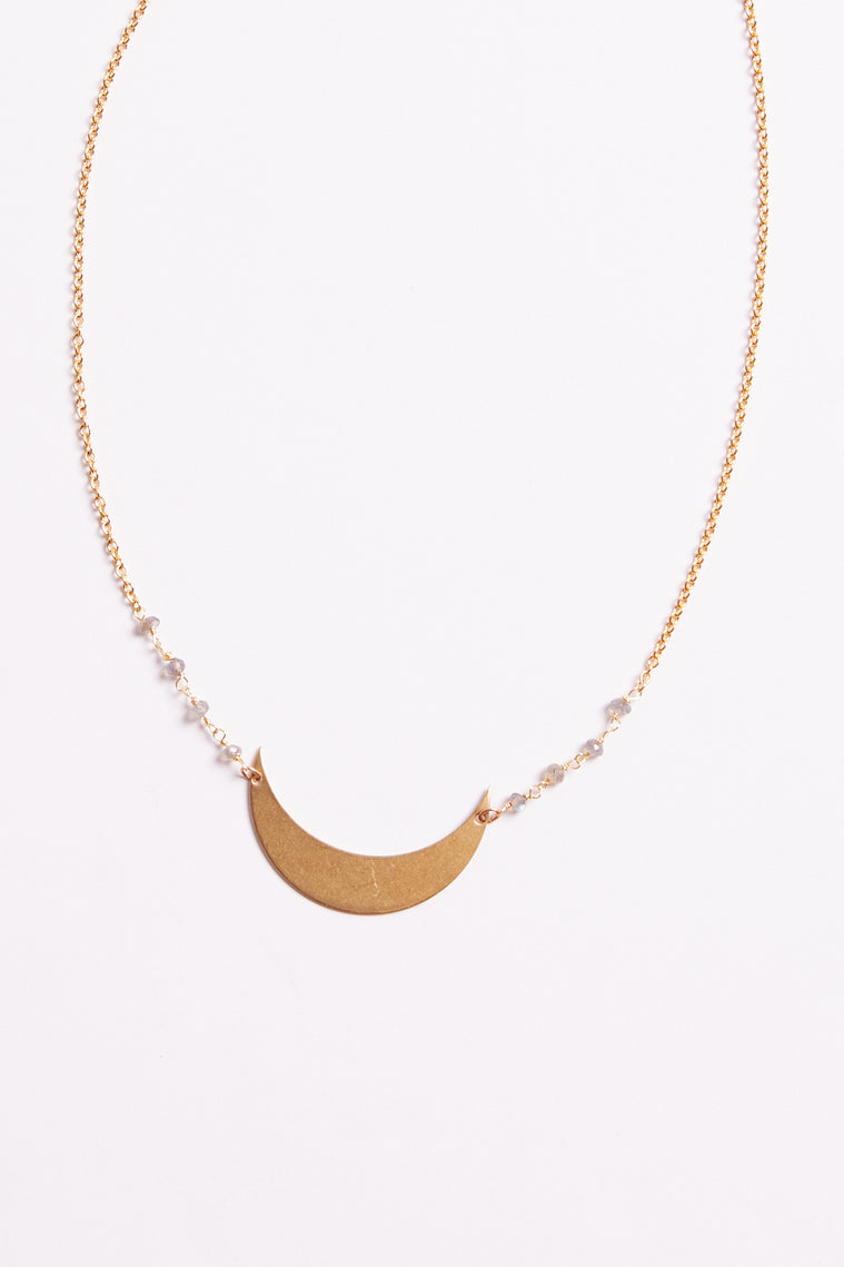 Crescent Moon Labradorite Gold Necklace Detail