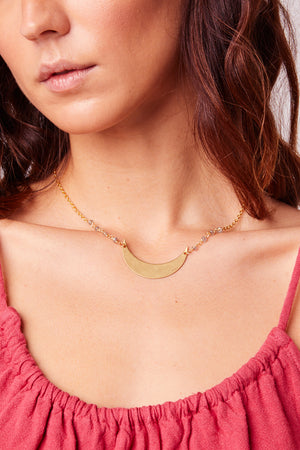 Crescent Moon Labradorite Gold Necklace Close2