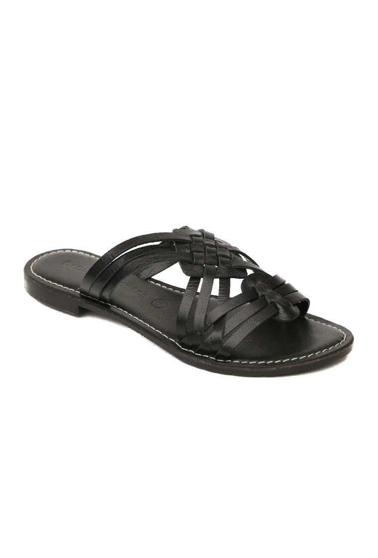 Crete Black Leather Slide Sandal Master
