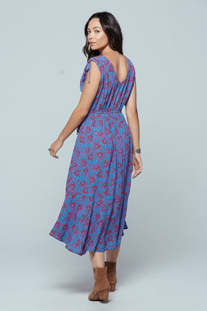 Crete Printed Midi Dress Back