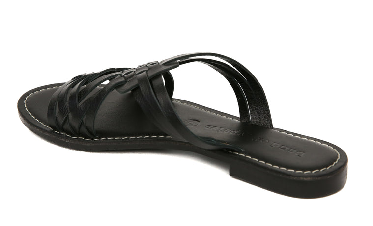 Crete Black Leather Slide Sandal Back