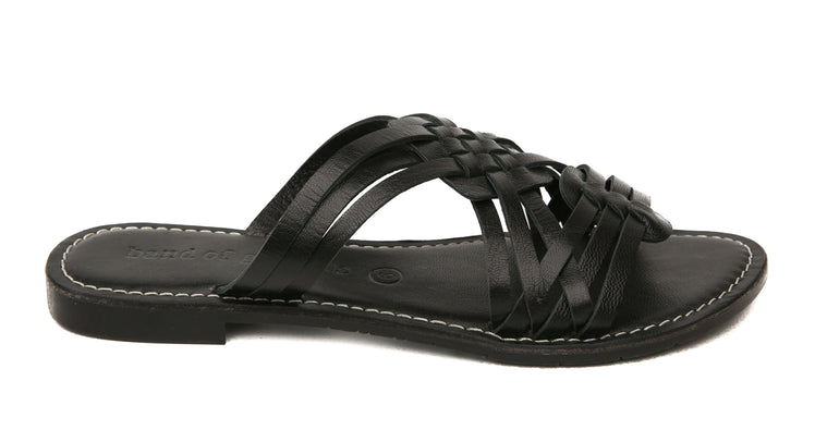Crete Black Leather Slide Sandal Side