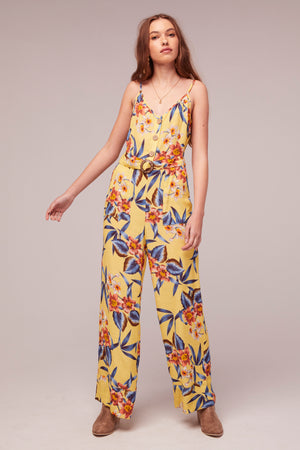 Daffodil Tropical Banana Print Jumpsuit Detail