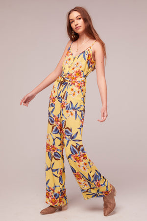 Daffodil Tropical Banana Print Jumpsuit Side