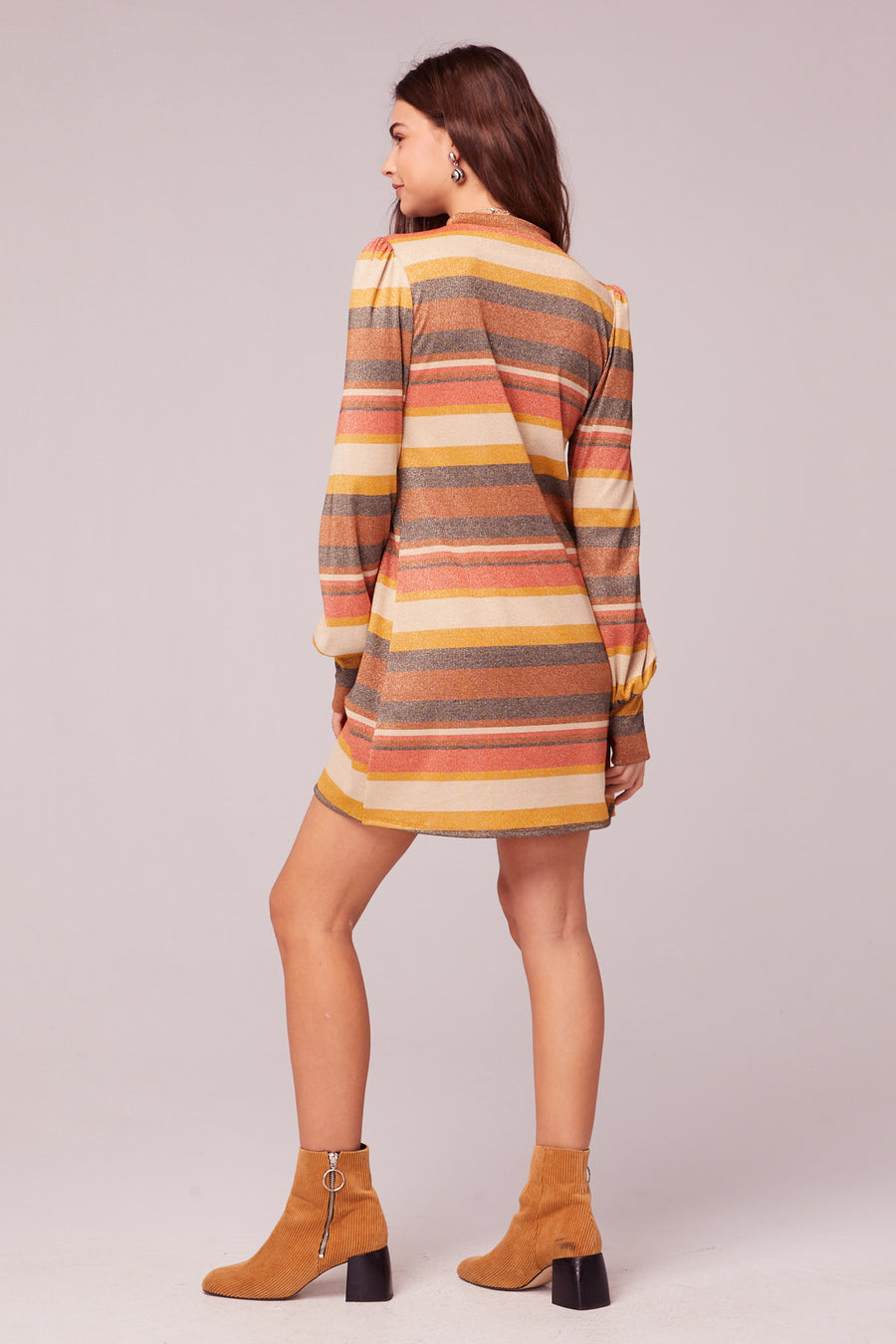 Dazed And Confused Retro Stripe Lurex Shift Dress