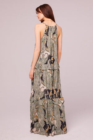 Del Rey Tiered Paisley Maxi Dress Back