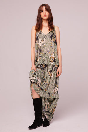 Del Rey Tiered Paisley Maxi Dress Front