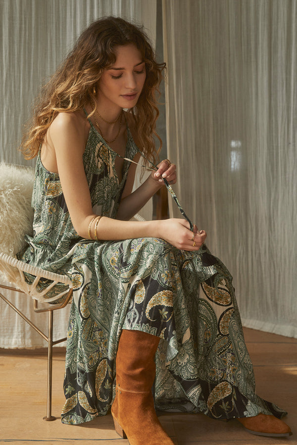 Del Rey Tiered Paisley Maxi Dress Lifestyle
