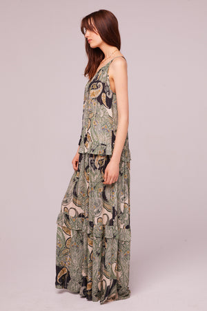 Del Rey Tiered Paisley Maxi Dress Side