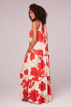 Del Rey Tiered Red Poppy Maxi Dress Back