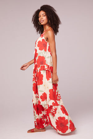 Del Rey Tiered Red Poppy Maxi Dress Side