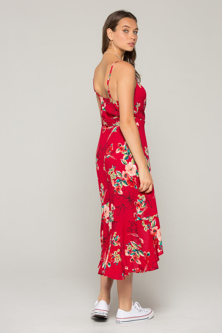 Delphine Red Floral Hi Lo Wrap Dress Side2