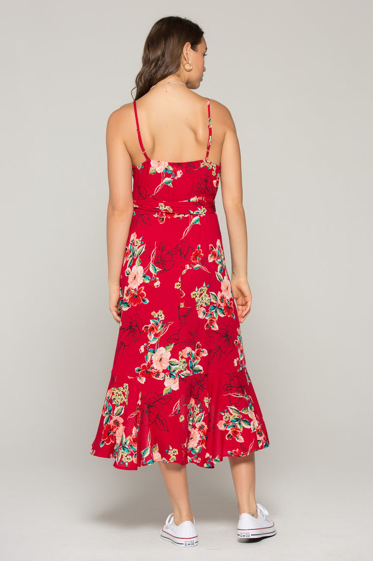 Delphine Red Floral Hi Lo Wrap Dress Back2