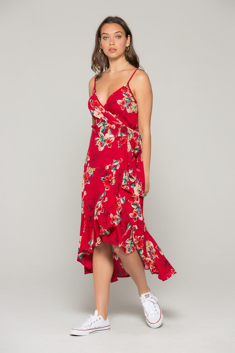 Delphine Red Floral Hi Lo Wrap Dress Master
