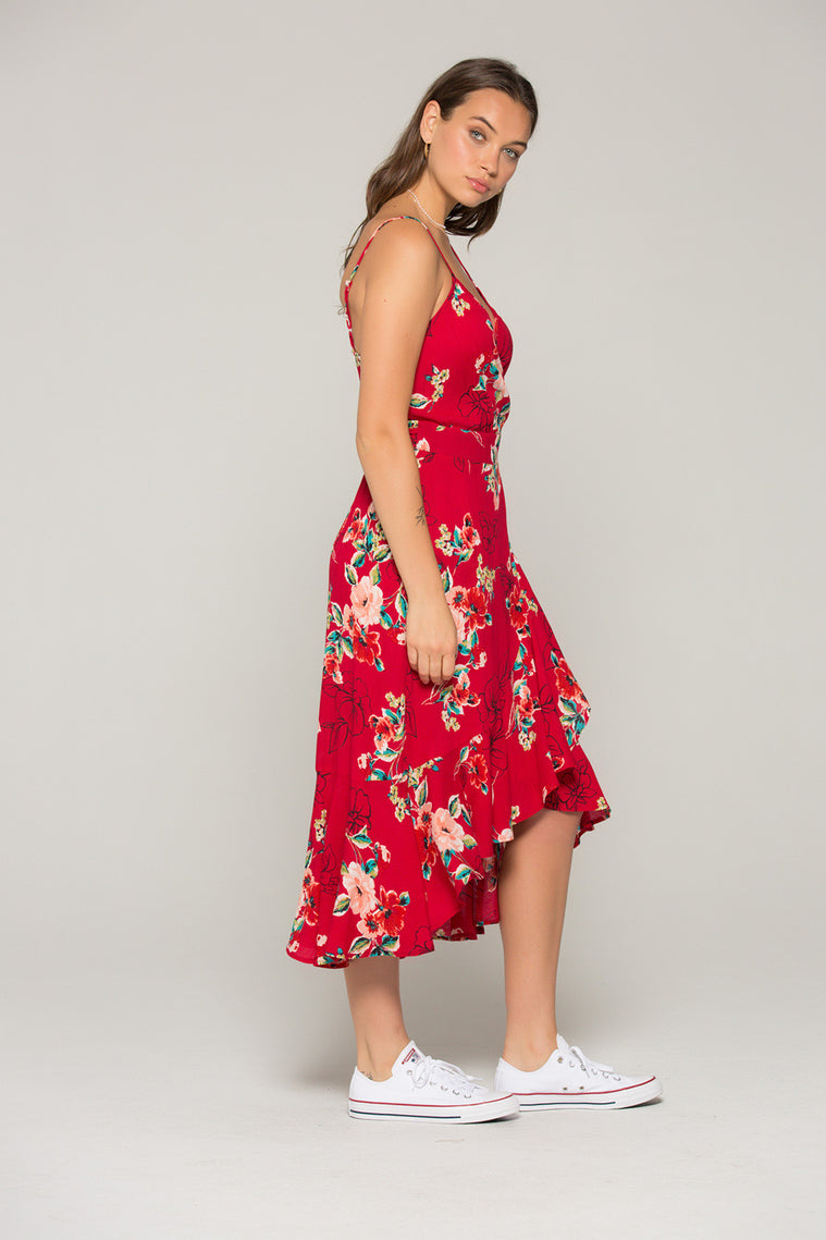 Delphine Red Floral Hi Lo Wrap Dress Sdie