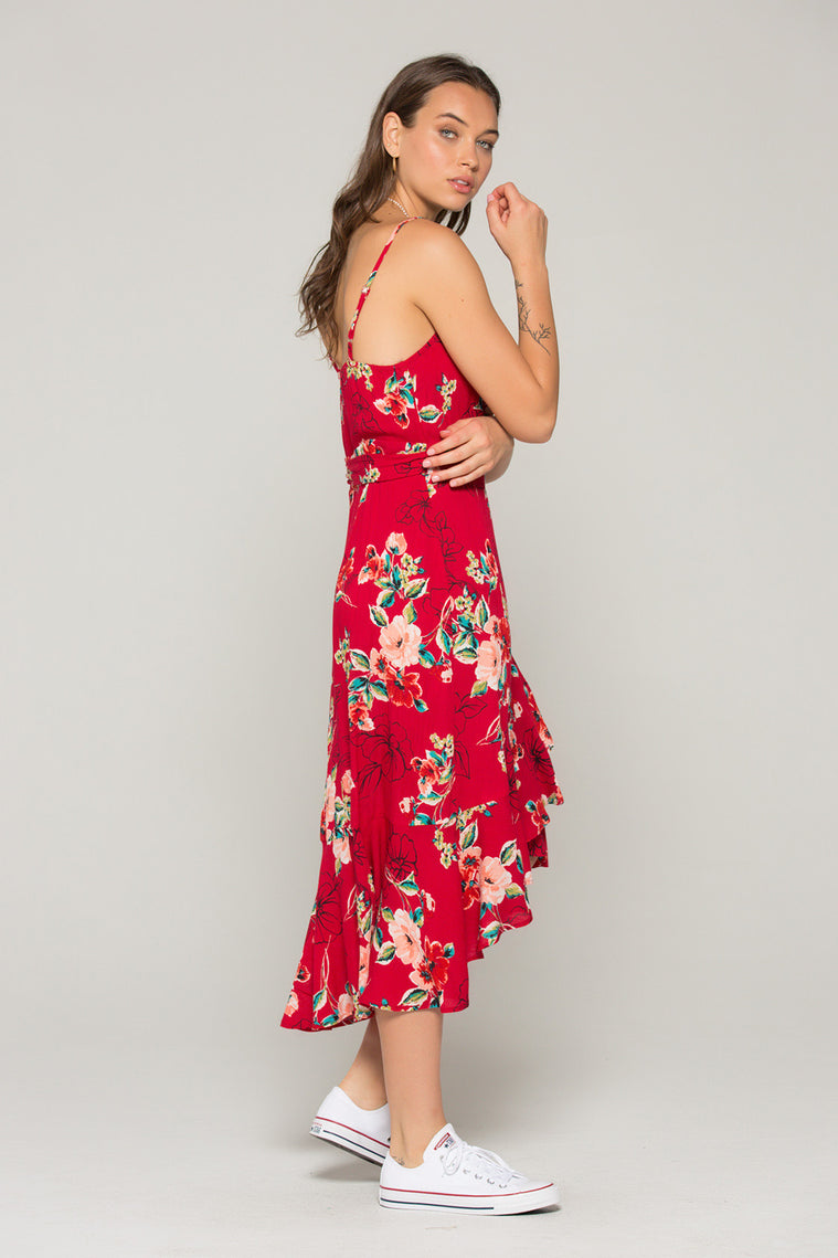 Delphine Red Floral Hi Lo Wrap Dress Back