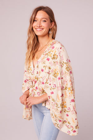 Desert Flower Floral Bell Sleeve Top