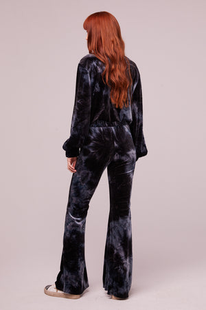Dietrich Midnight Velvet Tie Dye Flare Pants Back