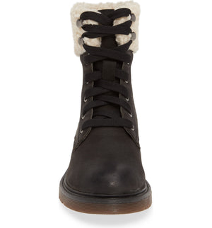 Dillon Black Fleece Cuff Lace Up Boot Front