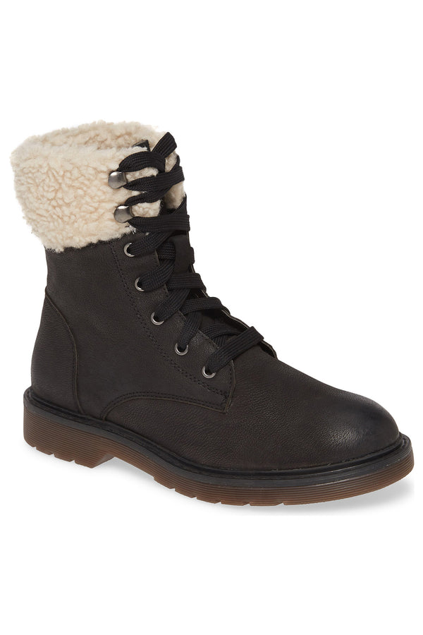Dillon Black Fleece Cuff Lace Up Boot Master