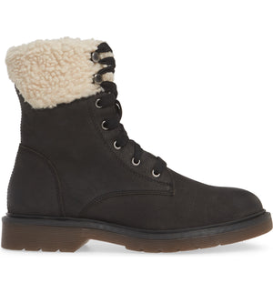 Dillon Black Fleece Cuff Lace Up Boot Side