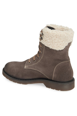 Dillon Grey Fleece Cuff Lace Up Boot Back