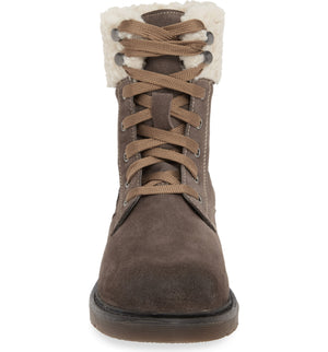 Dillon Grey Fleece Cuff Lace Up Boot Front