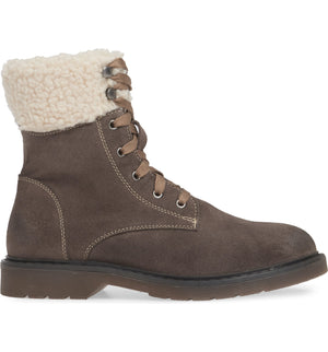 Dillon Grey Fleece Cuff Lace Up Boot Side