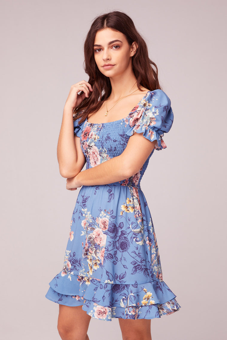 Dream Floral Print Mini Dress Side